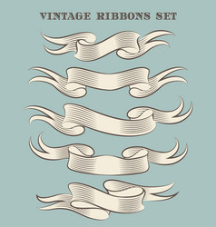 hand made vintage ribbon set vector image
