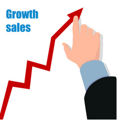 hand with graph profit concept growing business vector image
