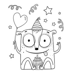 Happy birthday monster for kids coloring book vector