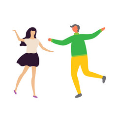 happy dancing couple at disco man and woman vector image