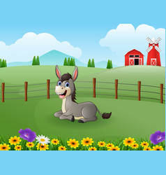 Happy donkey cartoon in the farm with green field vector