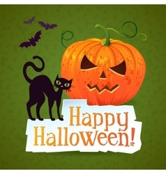 Happy halloween pumpkin greeting card vector