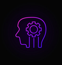 Head with gear colorful outline icon or sign vector