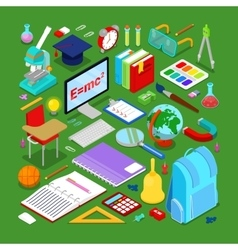 Isometric Education Elements with Computer vector