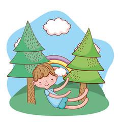 Kid child outdoors cartoon vector