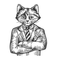 kitten businessman sketch engraving vector image