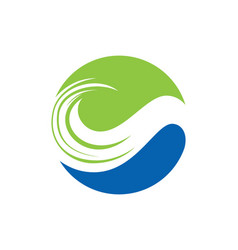 Leaf round ecology logo vector