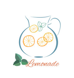 Lemonade jug outline logo and mint leaves vector
