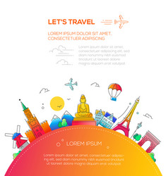 lets travel - flat design travel composition vector image