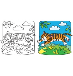 Little tiger coloring book vector image