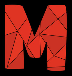 M red alphabet letter isolated on black background vector