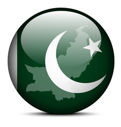 Map on flag button of Islamic Republic Pakistan vector