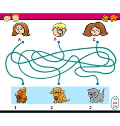 Maze paths task for kids vector