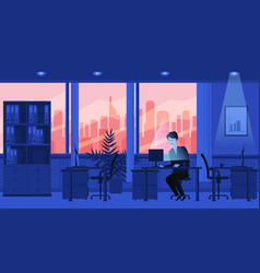 Modern interior of the office sunset the vector