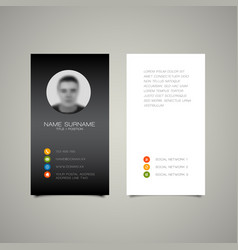 Modern simple dark business card template vector