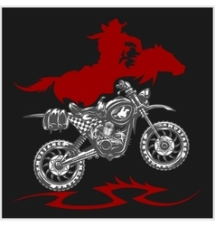 Motocross Moto and Horse - emblem vector image