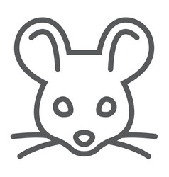Mouse line icon animal and zoo rat sign vector