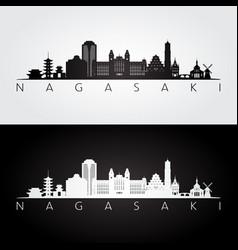 Nagasaki skyline and landmarks silhouette vector