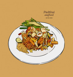 noodle padthai food thailand in dish hand vector image