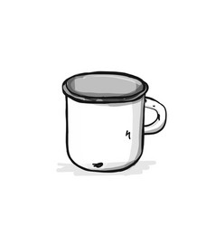 Old enameled mug sketch for your design vector