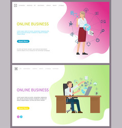 online business of company businesswoman and globe vector image