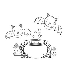 Outline pot cauldron object with bats flying vector