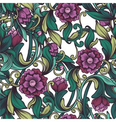 pattern with the drawn peony vector image