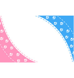 Paw prints pink blue frame background vector