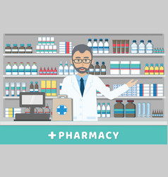 Pharmacist standing behind casheir counter vector