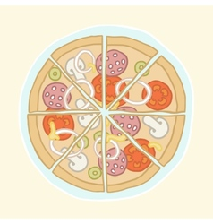 Pizza cut into slices vector