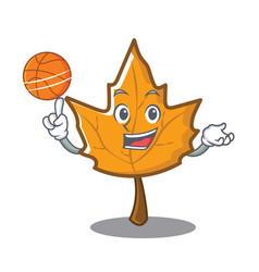Playing basketball maple character cartoon style vector