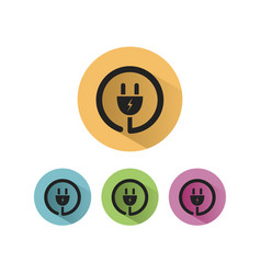 Plug icon with shadow on colored circles vector