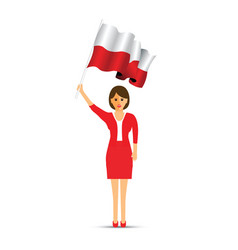 Poland flag waving woman vector