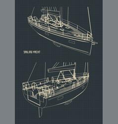 sailing yacht drawings vector image