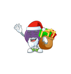Santa with gift acai berries character for fresh vector