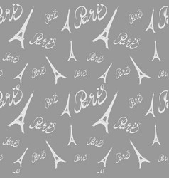 Seamless pattern eiffel tower with heartshand vector