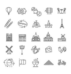 Set line icons in flat design france vector