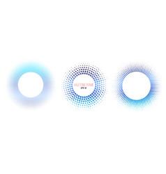 set of blue halftone color circle frames vector image