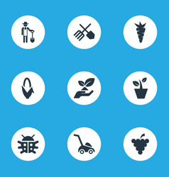 Set of simple gardening icons elements root rescue vector