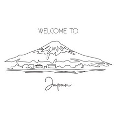 single continuous line drawing mount fuji scenery vector image