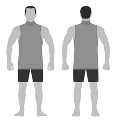Singlet man template front back views vector