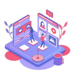 Social media marketing isometric vector
