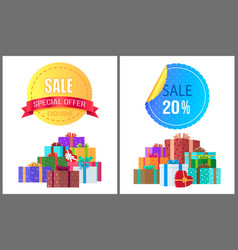 Special exclusive offer sale poster piles of gifts vector