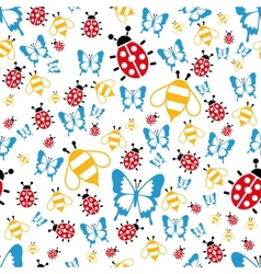 spring bugs seamless pattern vector image