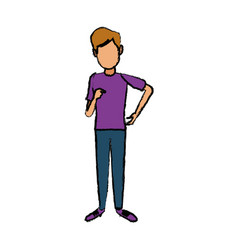 Standing young man wearing casual clothes cartoon vector