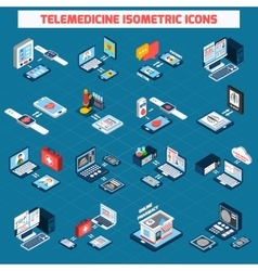 Telemedicine isometric icons set vector