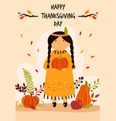 thanksgiving day greeting card with cute indian vector image