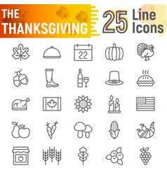 thanksgiving line icon set holiday symbols vector image
