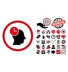 Time Thinking Flat Icon with Bonus vector image