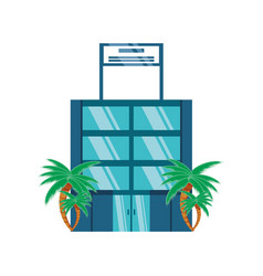 tropical paradise hotel building vector image